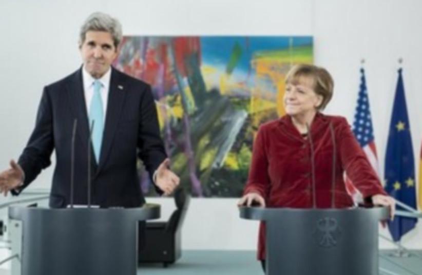 US Secretary of State John Kerry and German Chancellor Angela Merkel (photo credit: REUTERS)