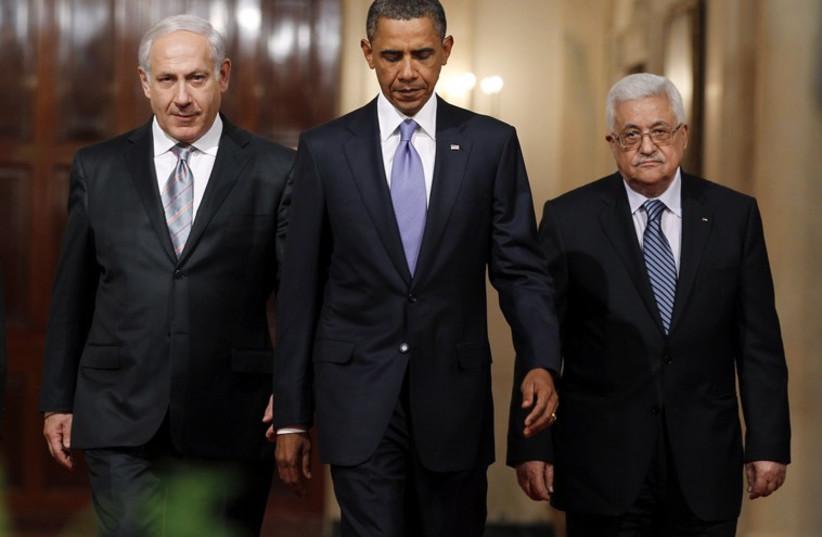 Benjamin Netanyahu, Barack Obama and Mahmoud Abbas (photo credit: REUTERS)