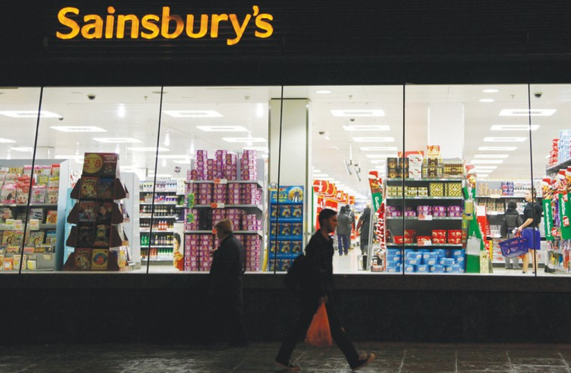Sainsbury's store in south London. (photo credit: STEFAN WERMUTH/REUTERS)