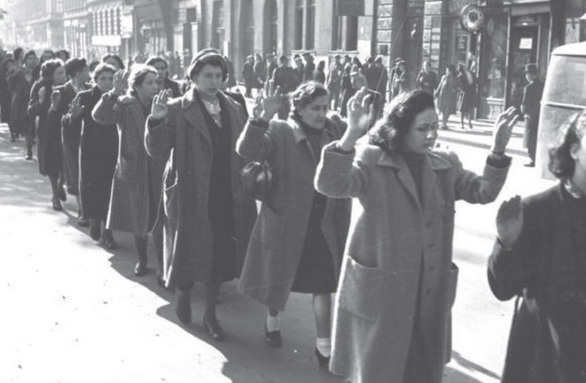 Jewish women are rounded up by Nazis and Hungarian fascists, Wesselényi Street, Budapest, October 1944. (photo credit: WIKIPEDIA / GERMAN FEDERAL ARCHIVE)