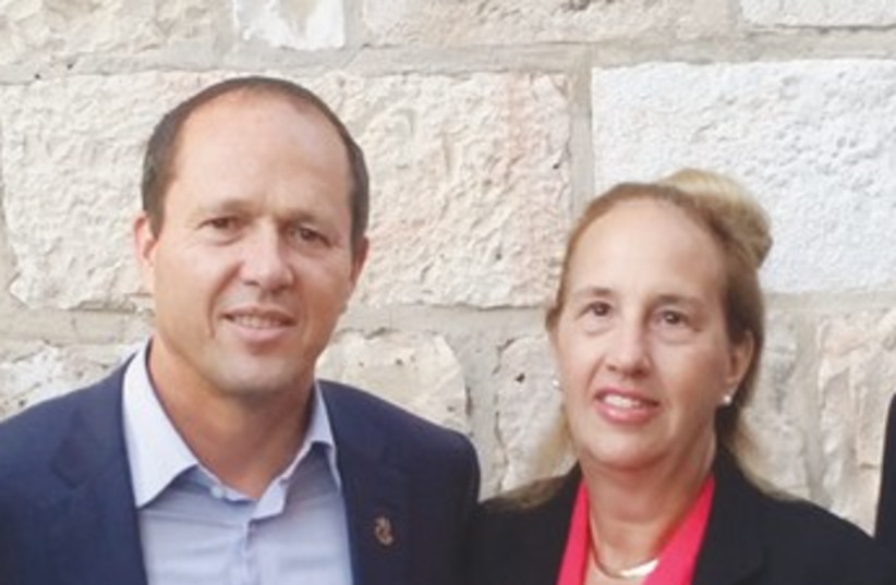 Manhattan Borough President Gale Brewer with Jerusalem Mayor Nir Barkat (photo credit: PR)