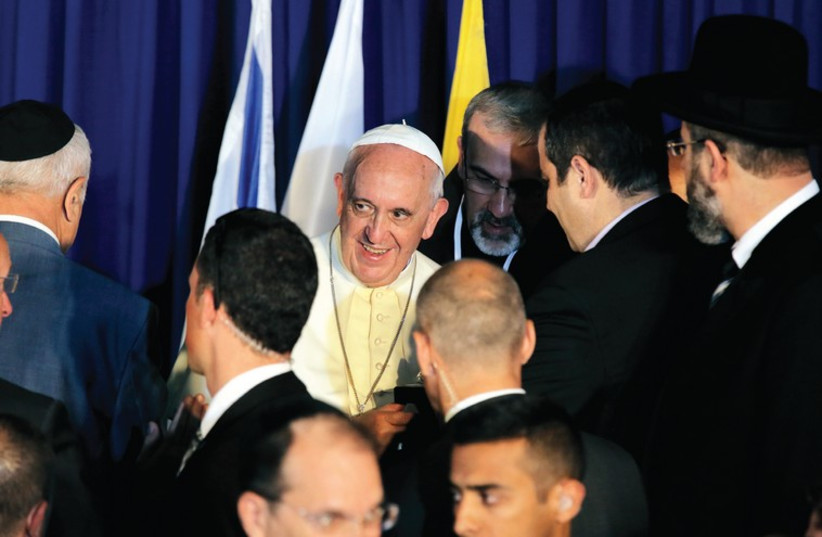 ISRAEL'S CHIEF Rabbis meet with the Pope in Jerusalem in May.  (photo credit: REUTERS)
