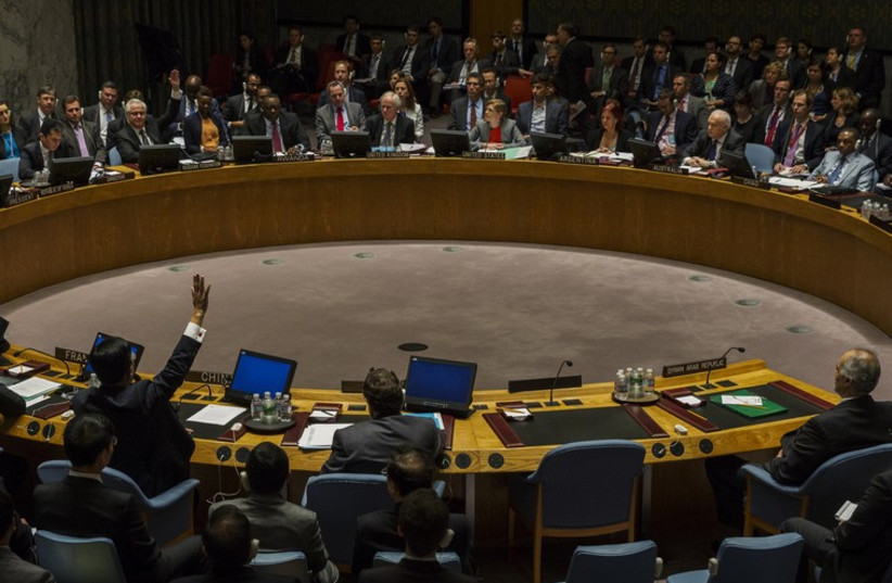 A  vote in the United Nations Security Council headquarters in New York (photo credit: REUTERS)