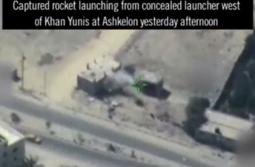 IAF strikes rocket launchers in Gaza (photo credit: screenshot)