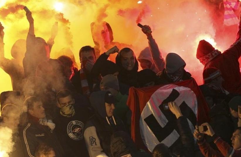 Neo-Nazis at public demonstration (photo credit: REUTERS)