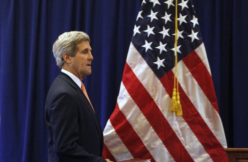 US Secretary of State John Kerry arrives for a news conference  (photo credit: REUTERS)