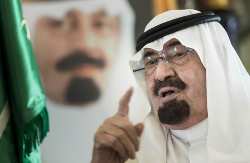Saudi King Abdullah speaks at his private residence in the Red Sea city of Jeddah (photo credit: REUTERS)