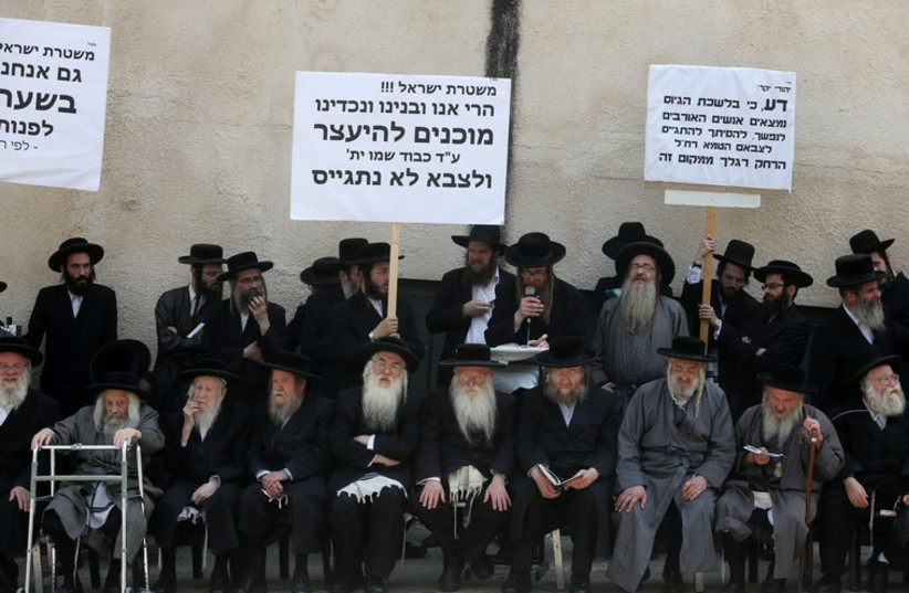 Haredi protest in Jerusalem against draft (photo credit: MARC ISRAEL SELLEM/THE JERUSALEM POST)