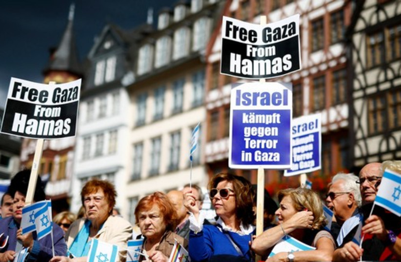 Protesters attend a rally against anti-Semitism in Frankfurt August 31, 2014.  (photo credit: REUTERS)