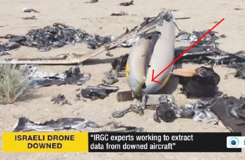 The remains of a drone the Iranians claim to have shot down (photo credit: PRESSTV)