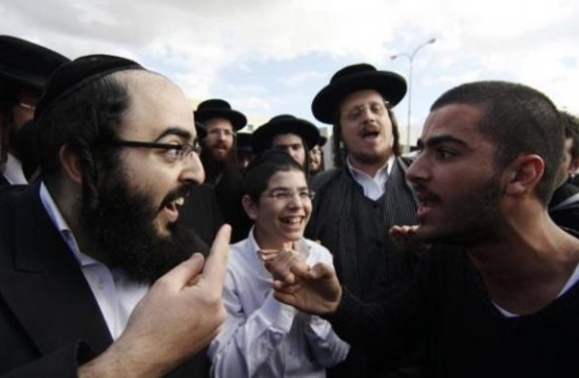 Ultra Orthodox and secular Israelis clash in Beit Shemesh. (photo credit: REUTERS)
