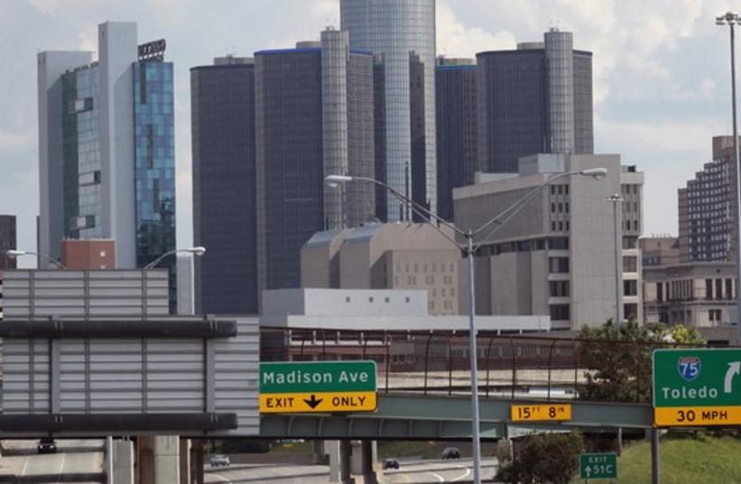 General Motors World Headquarters in downtown Detroit (photo credit: REUTERS)