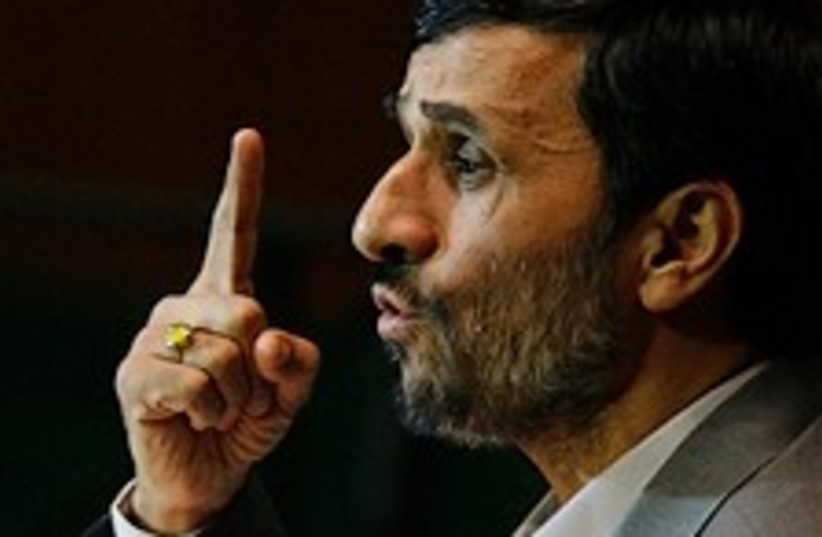 ahmadinejad making point 224.88 ap (photo credit: )