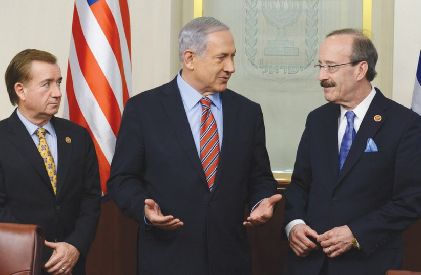 Prime Minister Binyamin Netanyahu meets with US Reps. Ed Royce (left) and Eliot Engel. (photo credit: KOBI GIDEON/GPO)