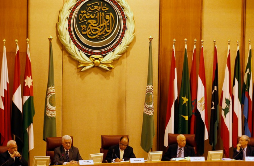 Foreign ministers of the Arab League take part in an emergency meeting at the league's headquarters in Cairo September 7 (photo credit: REUTERS)