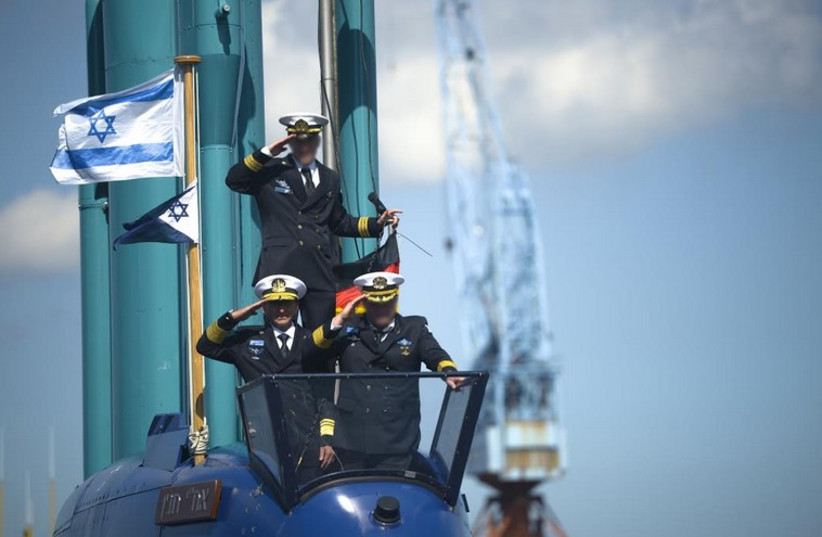 Israel's fourth submarine is en route to the navy's Haifa base from Germany (photo credit: IDF SPOKESMAN'S OFFICE)
