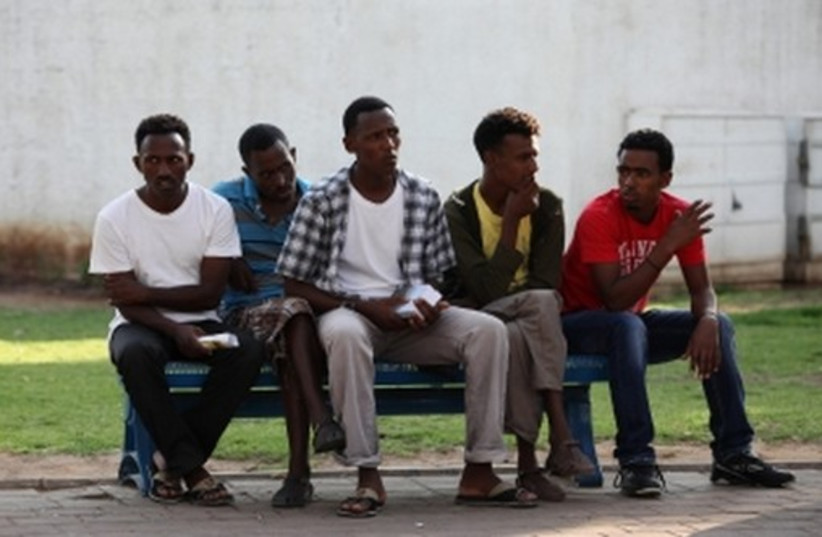 Eritrean migrants in Tel Aviv. (photo credit: MARC ISRAEL SELLEM/THE JERUSALEM POST)