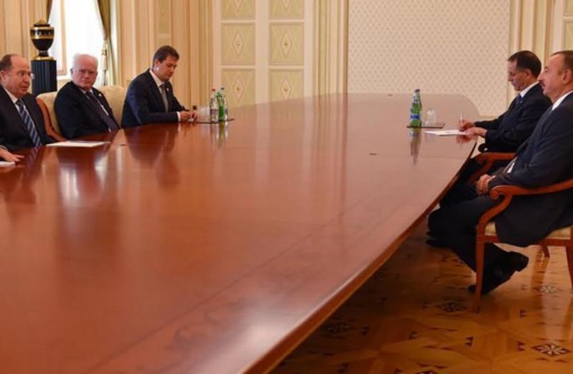 Defense Minister Moshe Ya'alon meeting with the President of Azerbaijan Ilham Heydar oglu Aliyev. (photo credit: ARIEL HERMONI / DEFENSE MINISTRY)
