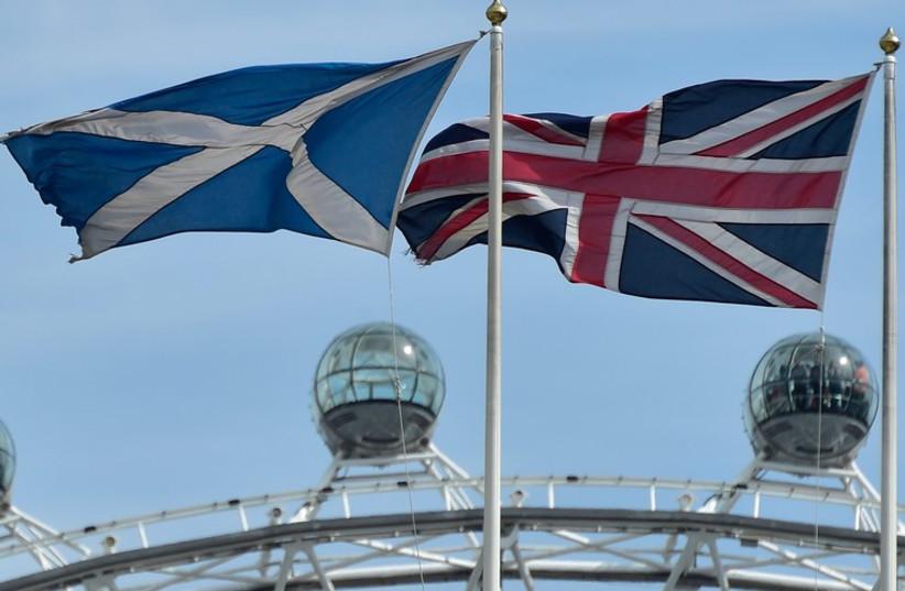 British and Scottish flags. (photo credit: REUTERS)