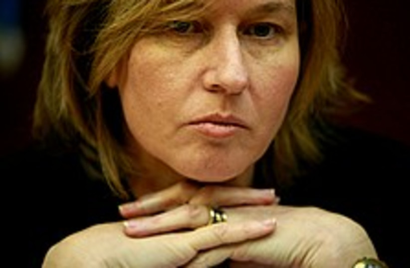 livni sultry head on hands 224 88 ap (photo credit: AP)