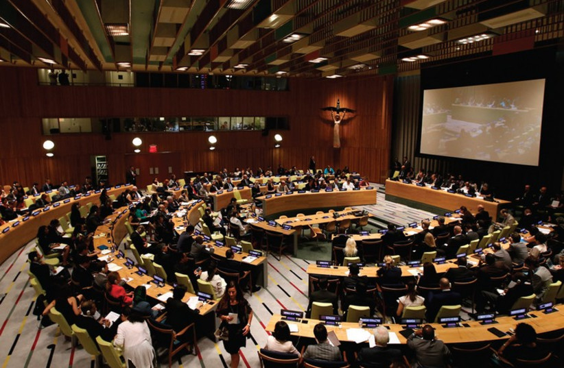 DELEGATES ATTEND an informal meeting of the 193-member United Nations General Assembly last month. (photo credit: REUTERS)