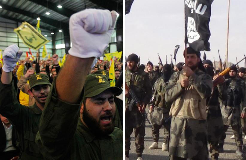 ISIS and Hezbollah (photo credit: REUTERS,ARAB MEDIA)