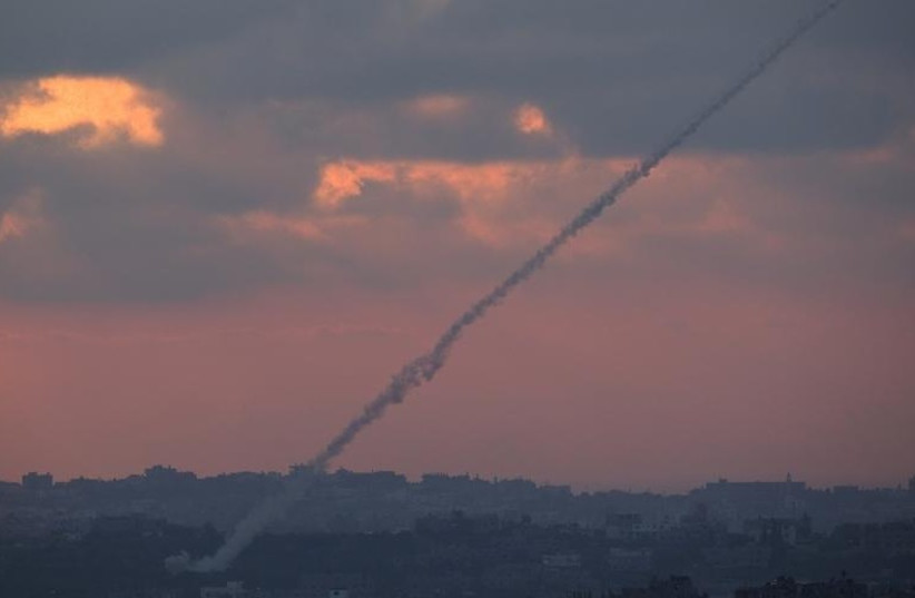 Rocket fired from the Gaza Strip toward Israel. [File] (photo credit: REUTERS)