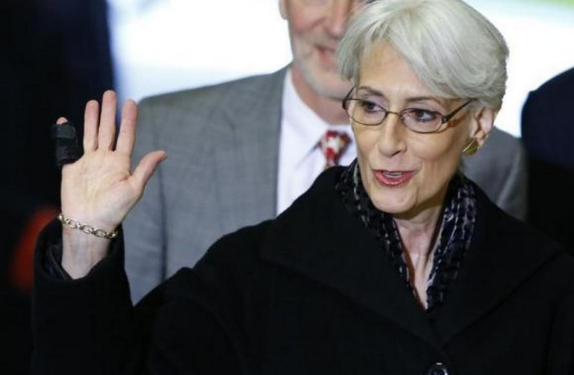 US Under Secretary of State Wendy Sherman arrives for a meeting on Syria at the United Nations European headquarters in Geneva (photo credit: REUTERS)