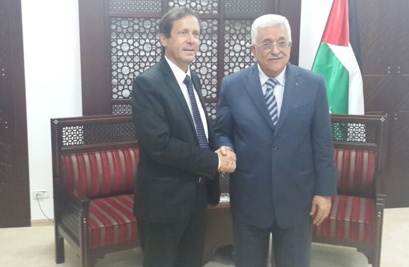 Herzog meets with Abbas in Ramallah (photo credit: OFFICE OF ISAAC HERZOG (LABOR))
