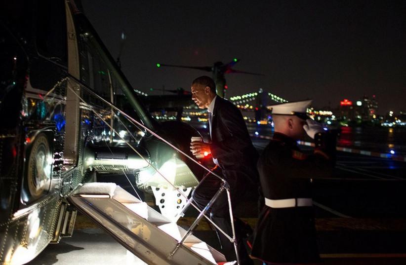 US President Barack Obama boards Marine One. (photo credit: THE WHITE HOUSE)