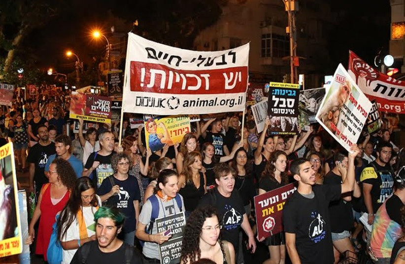 Animal rights activists marching in Tel Aviv, Sept 19, 2014 (photo credit: REVITAL TOPIOL)