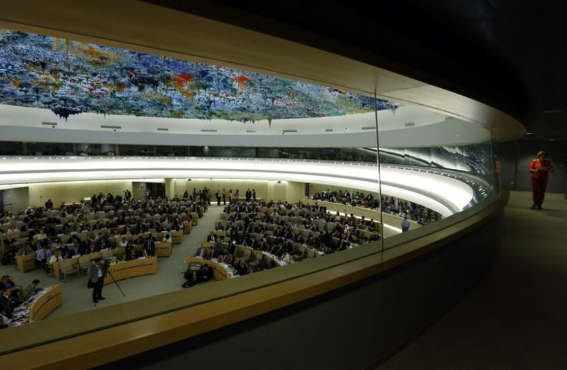 A session of the Human Rights Council at the United Nations in Geneva underway (photo credit: REUTERS)