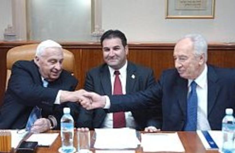 sharon peres handshake 248 (photo credit: Ariel Jerozolimski)