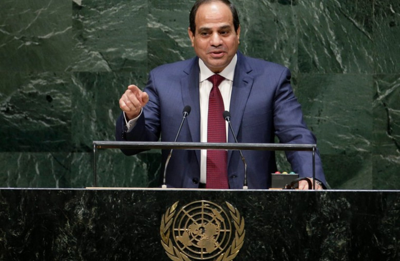 Egyptian President Abdel Fattah al-Sisi addresses the UN General Assembly in New York. (photo credit: REUTERS)