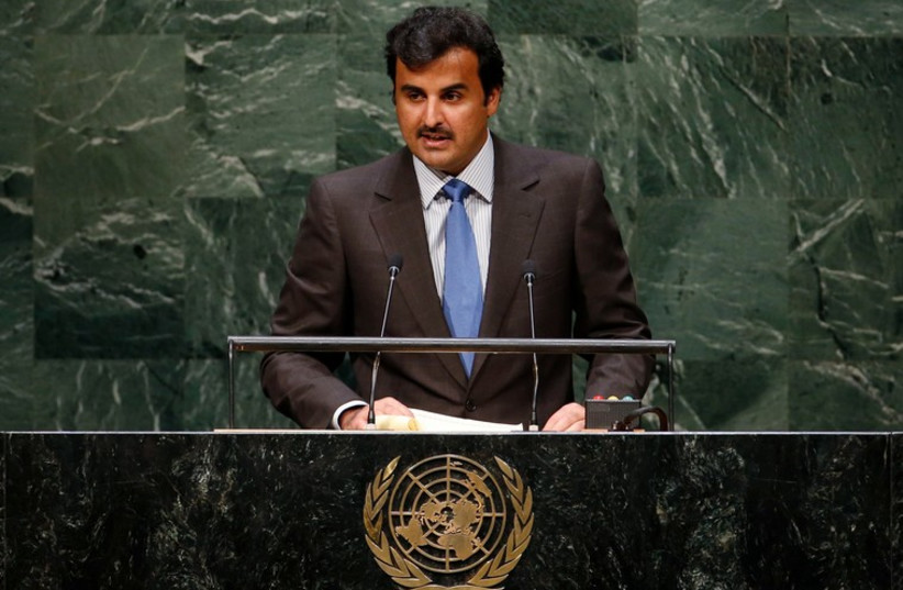 Sheikh Tamim bin Hamad Al-Thani of Qatar addresses the UN General Assembly in New York. (photo credit: REUTERS)