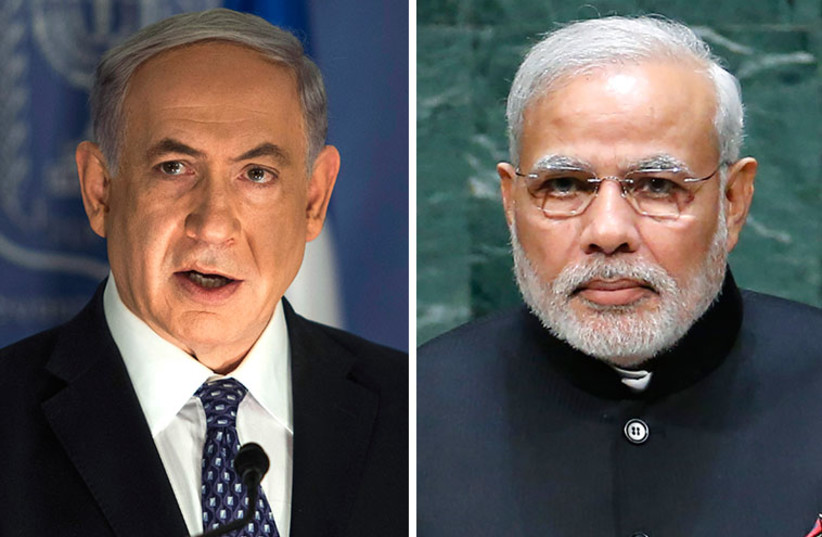 Netanyahu and Modi (photo credit: REUTERS)