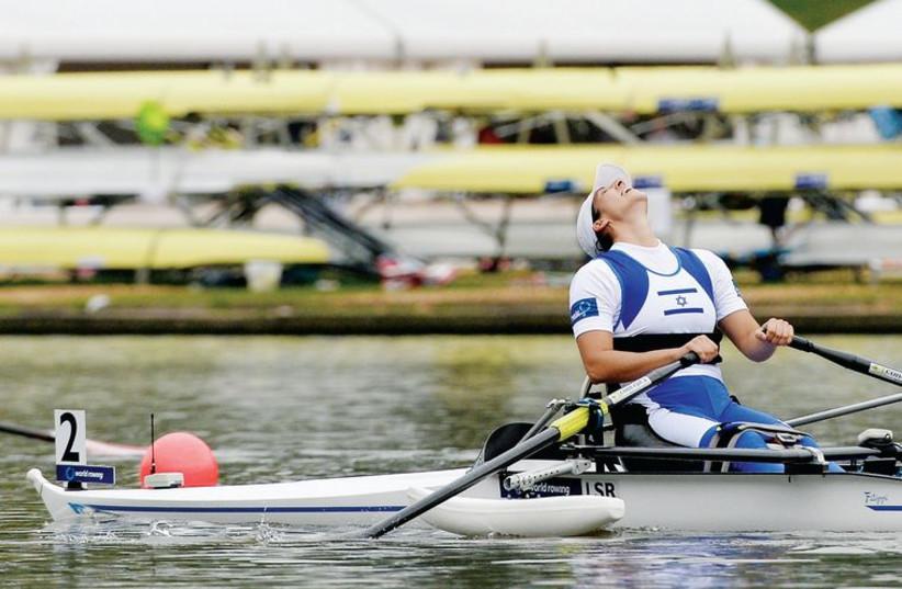 Moran Samuel in a racing boat at the World Championships in Amsterdam. (photo credit: DETLEV SAYEV)
