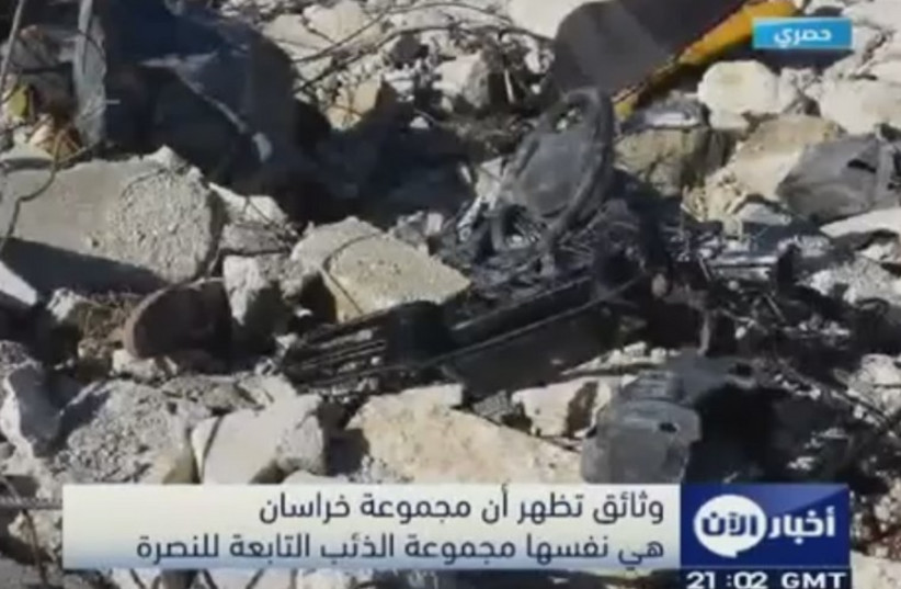 A Nusra Front stronghold bombed by the Americans in Syria (photo credit: YOUTUBE SCREENSHOT)