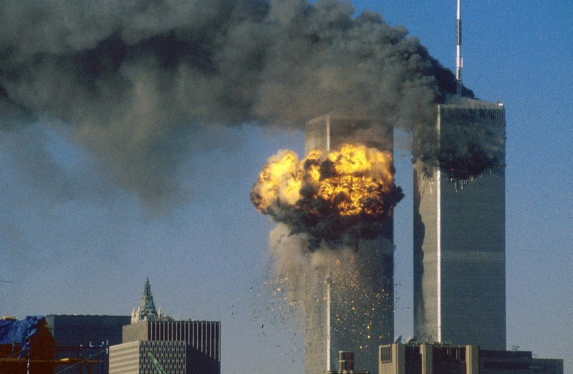 World Trade Center in New York hit by hijacked plane on September 11, 2001 (photo credit: REUTERS)
