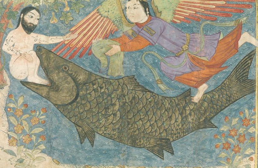 An artistic rendition of 'Jonah and the Whale' as part of the Jami' al-tawarikh, the 14th-century Persian literary compilation of history and culture. (photo credit: Wikimedia Commons)