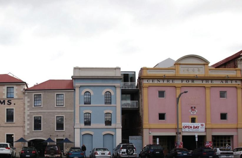 OLD BUILDINGS line a street in Hobart, Australia (photo credit: REUTERS)