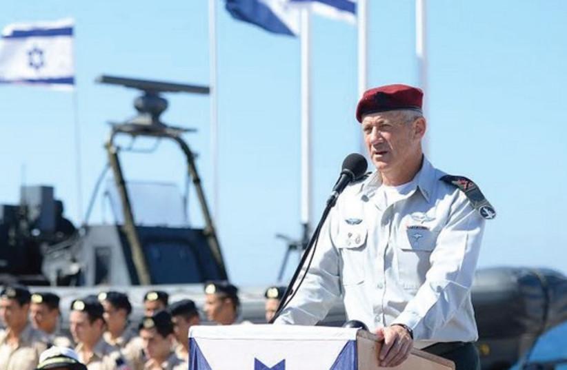 Chief of Staff Lt.-Gen. Benny Gantz delivers an address in Atlit praising the successes of the elite 'Shayetet 13' naval commando unit. (photo credit: IDF SPOKESMAN'S OFFICE)