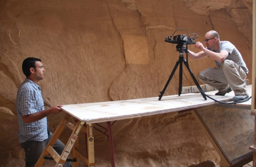 Using an innovative three dimensional technology, researchers have now made the Timna Valley Park the first setting in Israel where a large-scale rock engraving was scanned.  (photo credit: HEBREW UNIVERSITY INSTITUTE OF ARCHAEOLOGY)