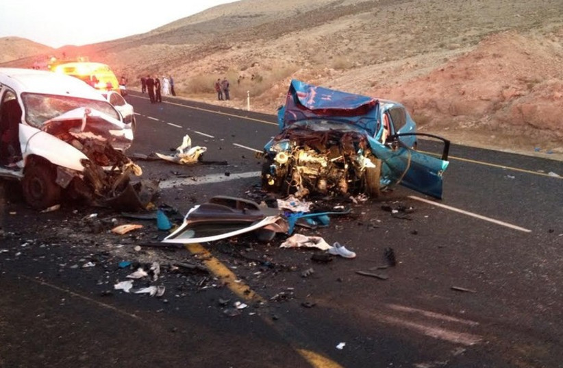 The scene of a traffic accident on Road 31 near Arad (photo credit: MAGEN DAVID ADOM)