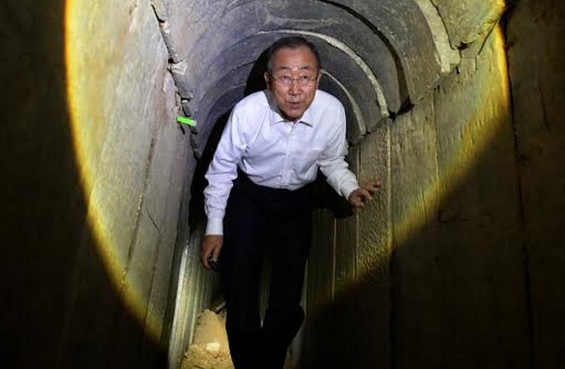 UN Secretary-General Ban Ki-moon tours Hamas infiltration tunnel into southern Israel. (photo credit: HAIM ZACH/GPO)