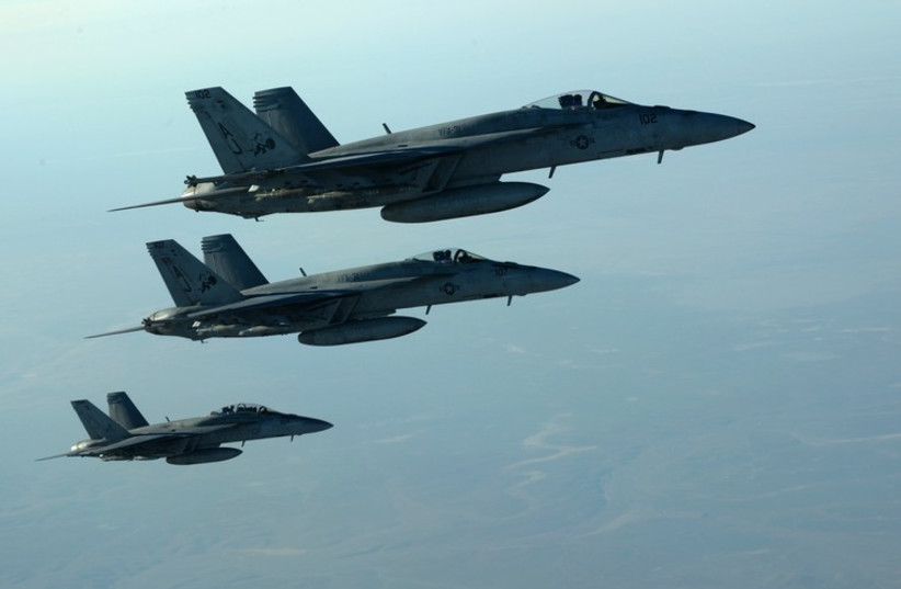US jets after receiving fuel over northern Iraq. (photo credit: REUTERS)