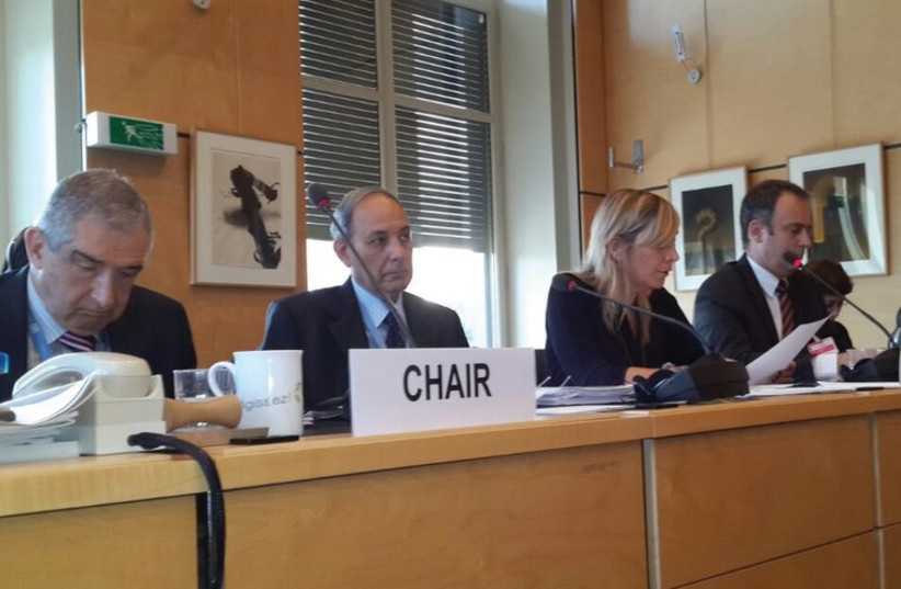 Justice Ministry director-general Emi Palmor (2nd from right) addresses the UN Human Rights Committee in Geneva October 20, 2014. (photo credit: JUSTICE MINISTRY)