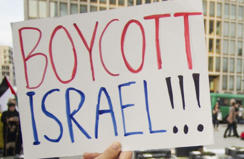 Boycott Israel sign (photo credit: REUTERS)