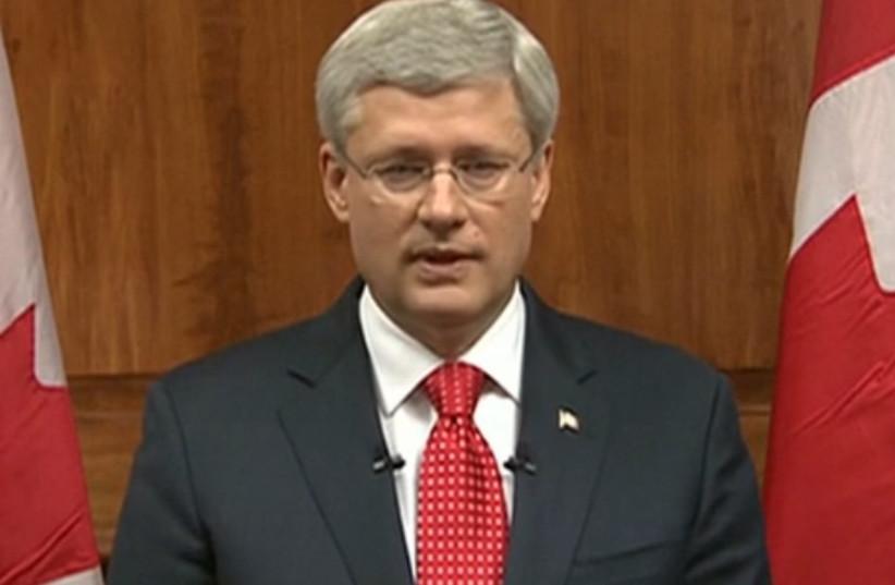 Stephen Harper addressing public after Ottawa attacks, October 22, 2014. (photo credit: REUTERS)