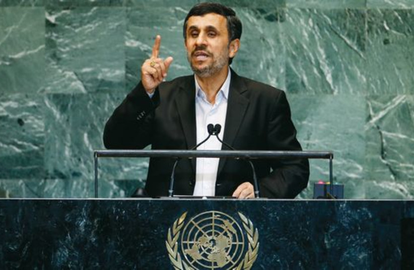 Former Iranian president Mahmoud Ahmadinejad addresses the UN General Assembly in New York in 2012. (photo credit: REUTERS)
